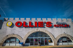 Exterior Sign on Ollies Bargain Outlet Retail Location. Lancaster, PA - January 15, 2017: Exterior of Ollie`s Bargain Outlete Retail Location. Ollie's is a Royalty Free Stock Photos