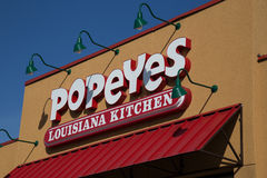 Exterior sign of Popeyes Louisiana Kitchen Restaurant Stock Images