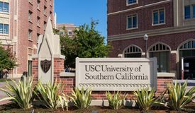 Exterior signage University of Southern California stock photo