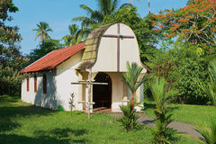 Exterior of the small catholic church in the town of Tortuguero, Costa Rica. Stock Photo