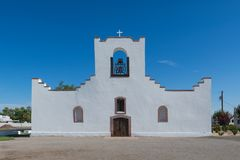 Socorro Mission. Exterior of the Socorro Mission church on Nevarez Road in El Paso, Texas Stock Images