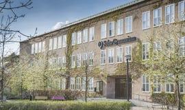 Exterior Solna Gymnasium highschool Sweden. In May, Solna, Stockholm, Sweden stock photos