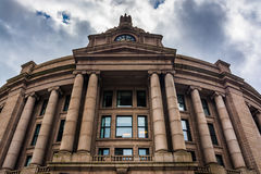 Exterior of the South Station, in Boston, Massachusetts. Royalty Free Stock Photos
