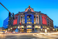 Exterior of the South Station, in Boston, Massachusetts. Exterior of the South Station at twilight, in Boston, Massachusetts Stock Image