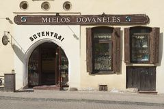 Exterior of a souvenir shop in the historical town of Vilnius, Lithuania. Stock Photography