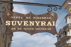Exterior of the souvenir shop sign in Vilnius, Lithuania. Stock Images