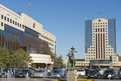 Exterior of the square next to the council of Astana city building in Astana, Kazakhstan. Stock Photography