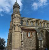 Exterior of St. Albans Cathedral. Hertfordshire, England, UK. St. Albans, Hertfordshire, England, UK - October 16, 2018: Interior of St. Albans Cathedral stock photos