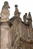 Exterior of St. Georges Cathedral in Lviv, Ukraine. Angels, cherubs statues on the banister of stone staircase. Elements of exterior decoration in the yard of St Royalty Free Stock Photography