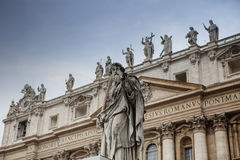 Exterior of St Peter Basilica rome italy important traveling lan Royalty Free Stock Photos