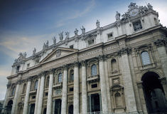 Exterior of St Peter Basilica rome italy important traveling lan Stock Image