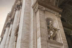 Exterior of St Peter Basilica rome italy important traveling lan Stock Images
