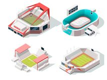 Exterior of stadium buildings hockey, soccer and tennis. Isometric pictures. Stadium, building sport arena, vector illustration royalty free illustration