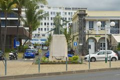 Exterior of the statue of Roland Garros in Saint-Denis De La Reunion, France. Stock Photography