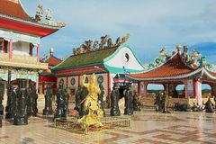 Exterior of the statues of Chinese Shaolin monks at Anek Kusala Sala (Viharn Sien) Chinese temple in Pattaya, Thailand. stock photos