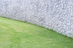 Exterior stone wall decorative in the garden Royalty Free Stock Images
