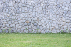 Exterior stone wall decorative in the garden Royalty Free Stock Photography