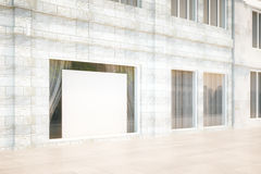 Exterior storefront with blank billboard, mock up, 3D Render Royalty Free Stock Photography