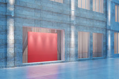 Exterior storefront with blank red billboard at night, mock up, Royalty Free Stock Image