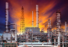 Exterior structure of oil refinery plant in petrochemical indust Royalty Free Stock Photos