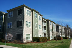 Exterior and surrounding environment affordable apartment building royalty free stock photography