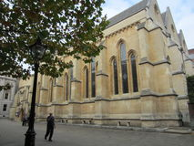 Exterior of Temple Church, London, England. Temple Church is a late 12th century church located in the City of London between Fleet Street and the River Thames Royalty Free Stock Photography