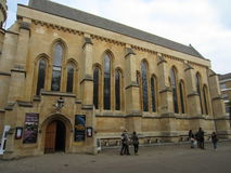 Exterior of Temple Church, London, England. Temple Church is a late 12th century church located in the City of London between Fleet Street and the River Thames Stock Photography