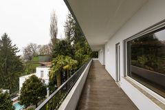 Exterior of terrace with nobody around. Exterior of balcony with nobody around royalty free stock photography