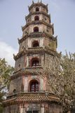 Exterior of Thiem Mu Pagoda Hue Vietnam. Front of Thiem Mu Pagoda, or Pagoda of the Celestial Lady, from stairs on Ha Khe hill in Hue, Vietnam stock photography
