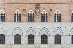 Exterior of classical architecture in Italy. Exterior of Torre del Mangia in Piazza del Campo, Siena, Tuscany, Italy stock photography