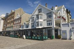 Exterior of the traditional buildingsin Haugesund, Norway. Royalty Free Stock Photos
