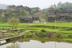 Exterior of the traditional Dong tribe village circa Rongshui, China. Stock Image