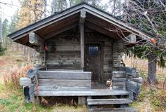 Exterior of Traditional Finnish Sauna in Taiga Forest Royalty Free Stock Images