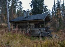 Exterior of Traditional Finnish Sauna in Taiga Forest Stock Photos