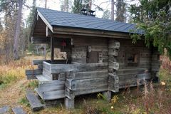 Exterior of Traditional Finnish Sauna in Taiga Forest Stock Photography