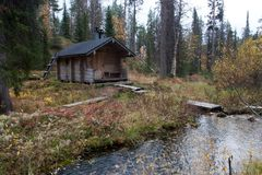 Exterior of Traditional Finnish Sauna in Taiga Forest Stock Images