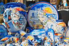 Exterior of the traditional souvenirs from Santorini island in Oia, Greece. Royalty Free Stock Photography