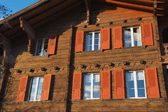 Exterior of a traditional Swiss wooden chalet in Brienz, Switzerland. Royalty Free Stock Photography
