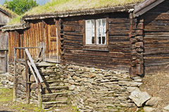 Exterior of the traditional timber house of the copper mines town of Roros, Norway. Stock Photos