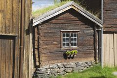 Exterior of the traditional timber house of the copper mines town of Roros, Norway. Royalty Free Stock Photos