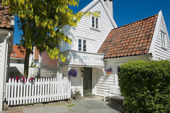 Exterior of the traditional wooden house in Stavanger, Norway. Stock Images