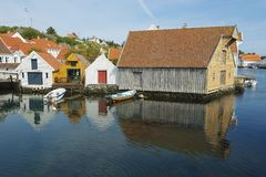 Exterior of the traditional wooden houses in Skudeneshavn, Norway. Stock Photography