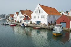 Exterior of the traditional wooden houses in Skudeneshavn, Norway. Stock Photo