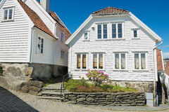 Exterior of the traditional wooden houses in Stavanger, Norway. Royalty Free Stock Photo