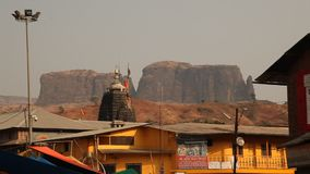 Exterior of the Trayambakeshwar Temple stock footage
