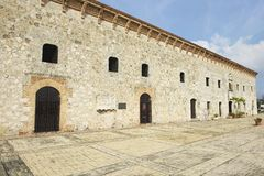 Exterior of the typical colonial building in Santo Domingo, Dominican Republic. Royalty Free Stock Image