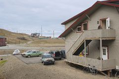 Exterior of the typical residential building in Longyearbyen, Norway. Royalty Free Stock Photo