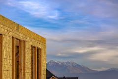 Exterior of unfinished house in Daybreak Utah royalty free stock photo