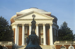 Exterior of University of Virginia with statue of Thomas Jefferson, Charlottesville, VA royalty free stock photos
