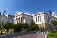 Exterior view of the Academy of Athens, Greece stock photos